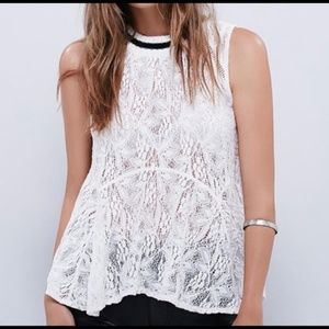 NWT FREE PEOPLE MASIE LACE IVORY TANK